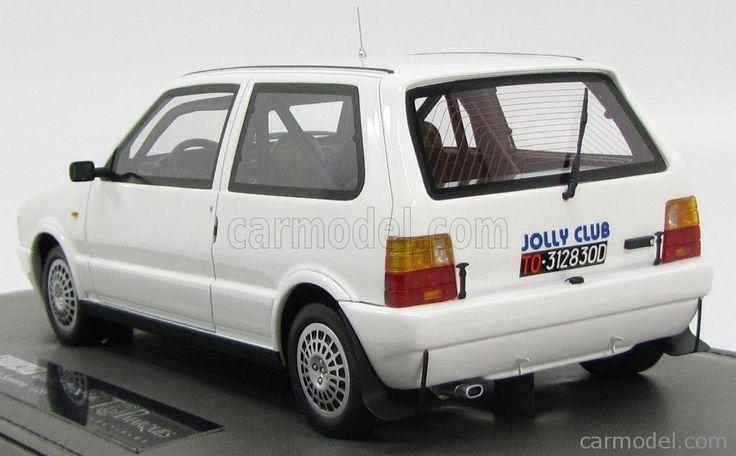 TOPMARQUES TOP007AP Scala 1/18  FIAT UNO TURBO i.e. TOTIP CECCATO JOLLY CLUB N 0 RALLY SANREMO 1986 - BASE IN PELLE WHITE