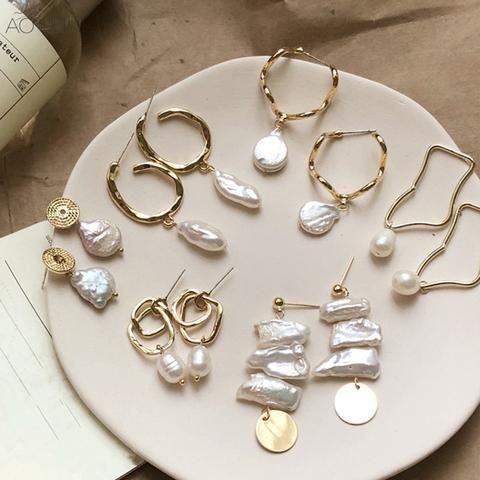 Design Metal Gold Geometric Irregular Circle Square Natural Freshwater Pearl Stud Earrings for Women Girl Gift