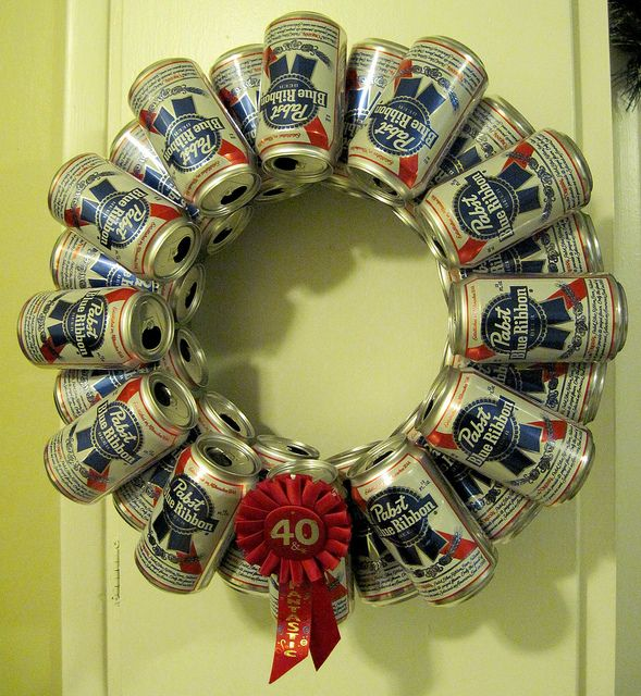 Pabst Blue Ribbon beer can wreath of AWESOMENESS. with Bud Light instead? :D