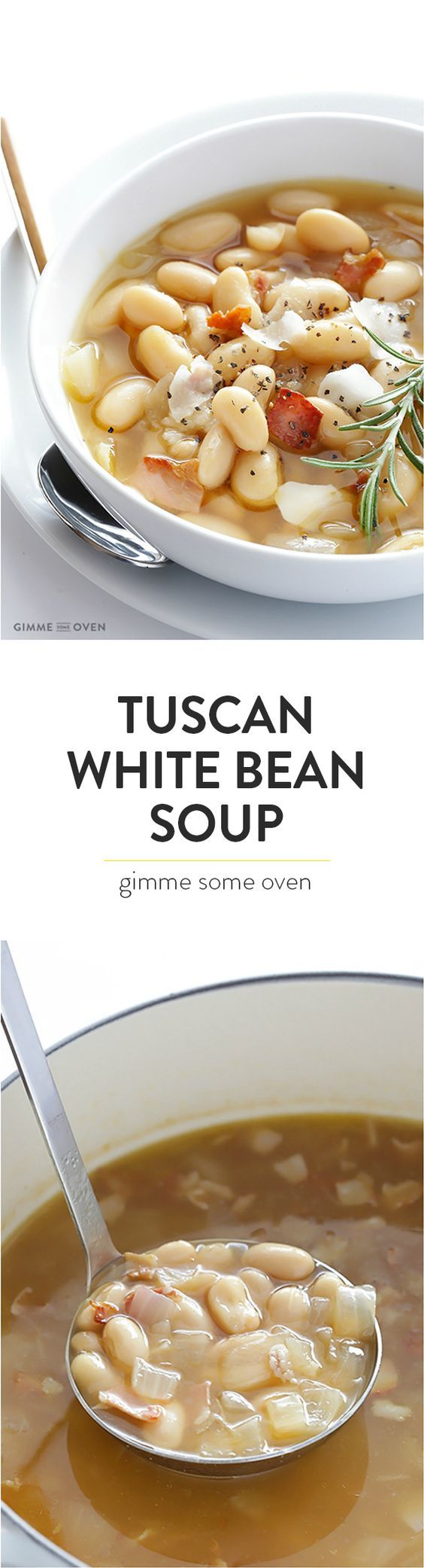 7-Ingredient Tuscan White Bean Soup -- this Italian recipe is made with delicious easy ingredients, and ready to go in about 30 minutes! | gimmesomeoven.com: