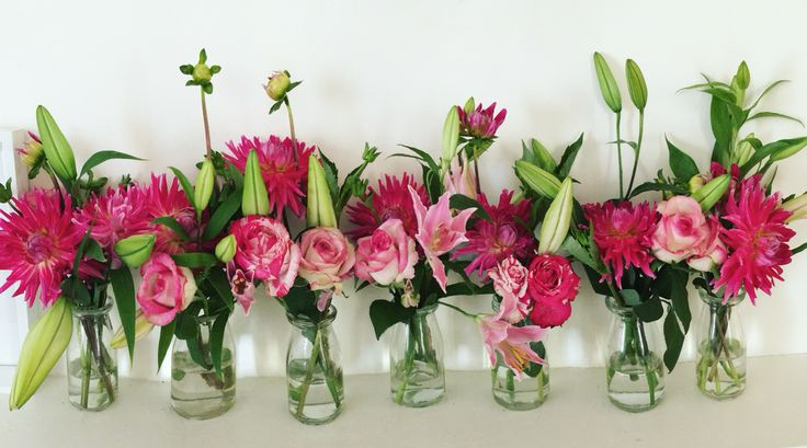 Valentine's Day flowers by Lily+Moss in our milk bottle range! Roses, dahlias + lilies