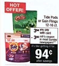 CVS:  Tide PODS & Gain Flings ONLY $0.94 - Starting April 2nd *Now With NEW Printable Coupon!