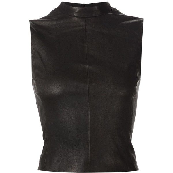 Narciso Rodriguez sleeveless leather top (155.875 RUB) ❤ liked on Polyvore featuring tops, black, leather tank, black tank, leather top, black tank top and sleeveless tank tops