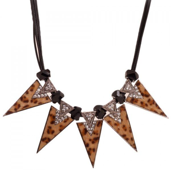 Retro Women's Rhinestone Leopard Pattern Triangle Pendant Design Necklace #women, #men, #hats, #watches, #belts, #fashion, #style