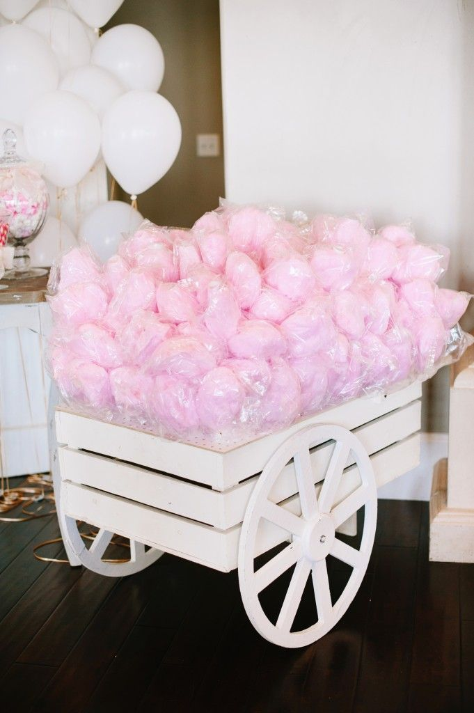 Wedding reception pink cotton candy cart! How cute is this? Looks great on our wood floor in the Sleepy Ridge Sunset Room.