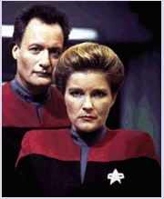 Janeway and Q  (what a great shot and i love john delancie-) he's a nice man!