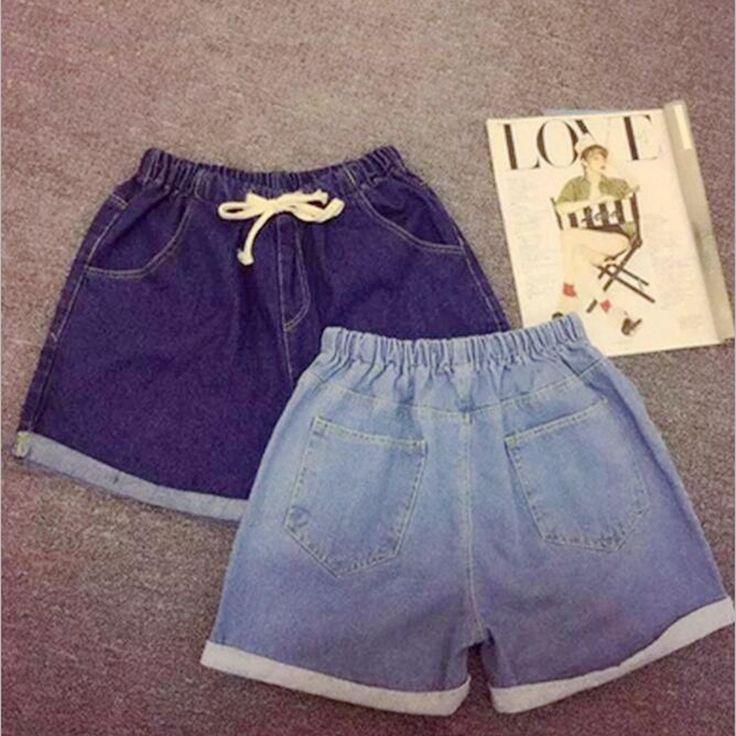 2016 Fashion Spring Casual Elastic Waist Crimping Summer Women Denim Shorts…