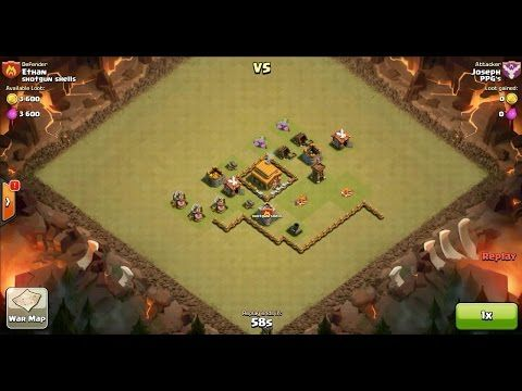 Clash of Clans TH4 vs TH3 Giant, Archer, Barbarian & Goblin Clan War 3 Star Attack ⋆ Clash of Clans 3 Stars Clan Wars