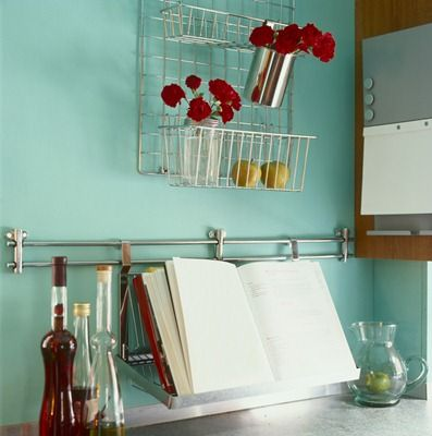 Kitchen organization: Frugal Recipe, Decor Ideas, Red Flower, Wall Color, Kitchens Ideas, Cookbook Holders, Kitchens Color, Recipe Book, Kitchens Organizations