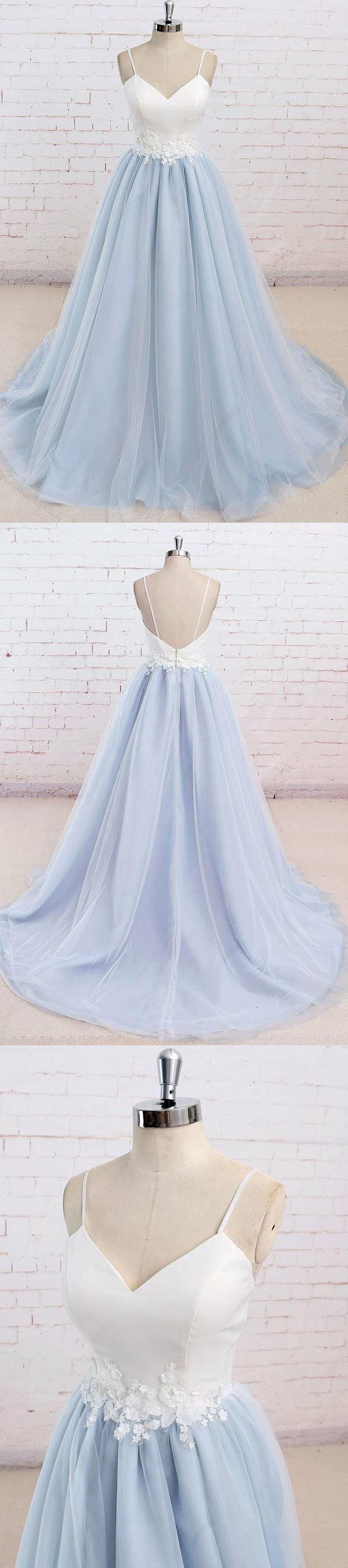 SPAGHETTI STRAPS SWEEP TRAIN BACKLESS BLUE TULLE PROM KLEID PG498