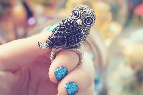 Nails Colors, Hoot Hoot, Nice Hooters, Birdie Rings, Fashion Blog, Things Owls, Hoothoot, Blue Nails, Owls Rings