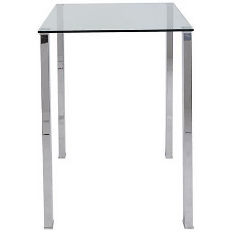 Great Beth Stainless And Clear Glass Bar Table