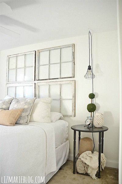 Living Room Focal Point Repurposed Bed Frames