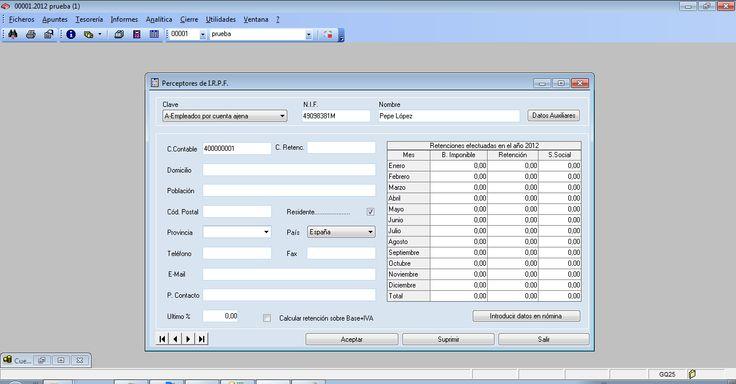 Preceptores de I.R.P.F. del programa ERP Gextor Financiero (contabilidad).