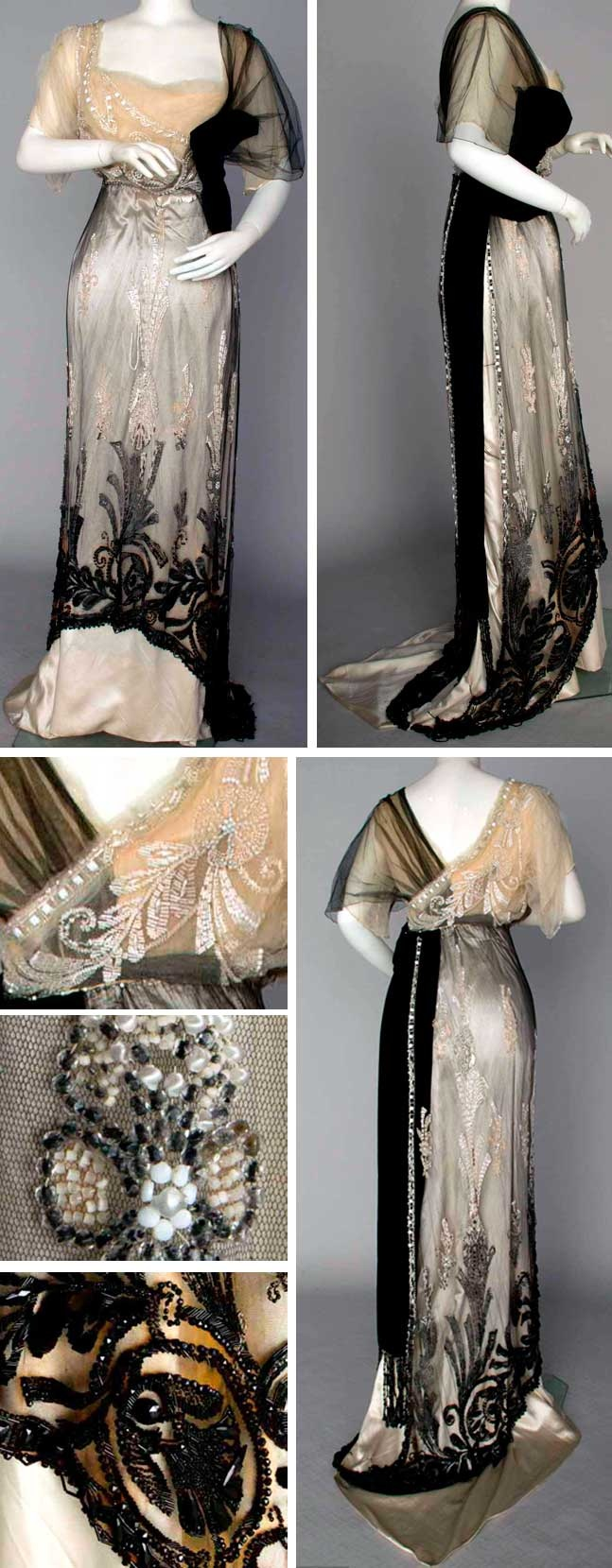 Evening gown, Jeanne Paquin, Paris, Winter 1911. Two pieces, Empire waist. Black silk net over ivory silk satin and black velvet sash and bow. All decorated with white and jet beads,