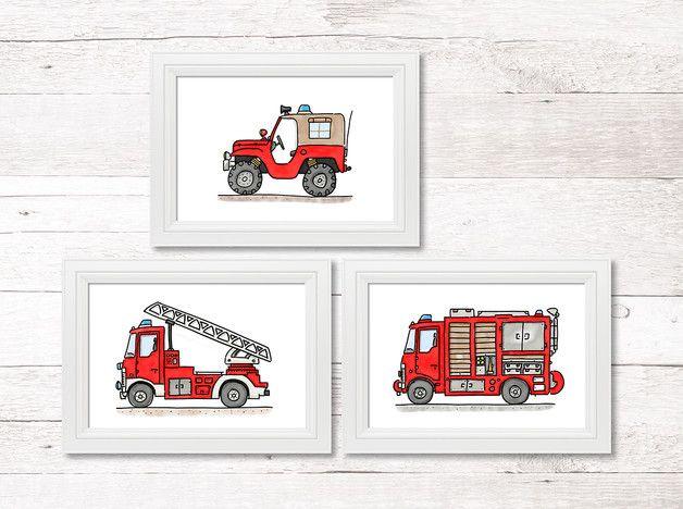 Drucke & Plakate - A4 Kinderzimmer Poster 3-Set Feuerwehr Fahrzeuge - ein Designerstück von Hugos-Illustrations-for-little-Kids bei DaWanda