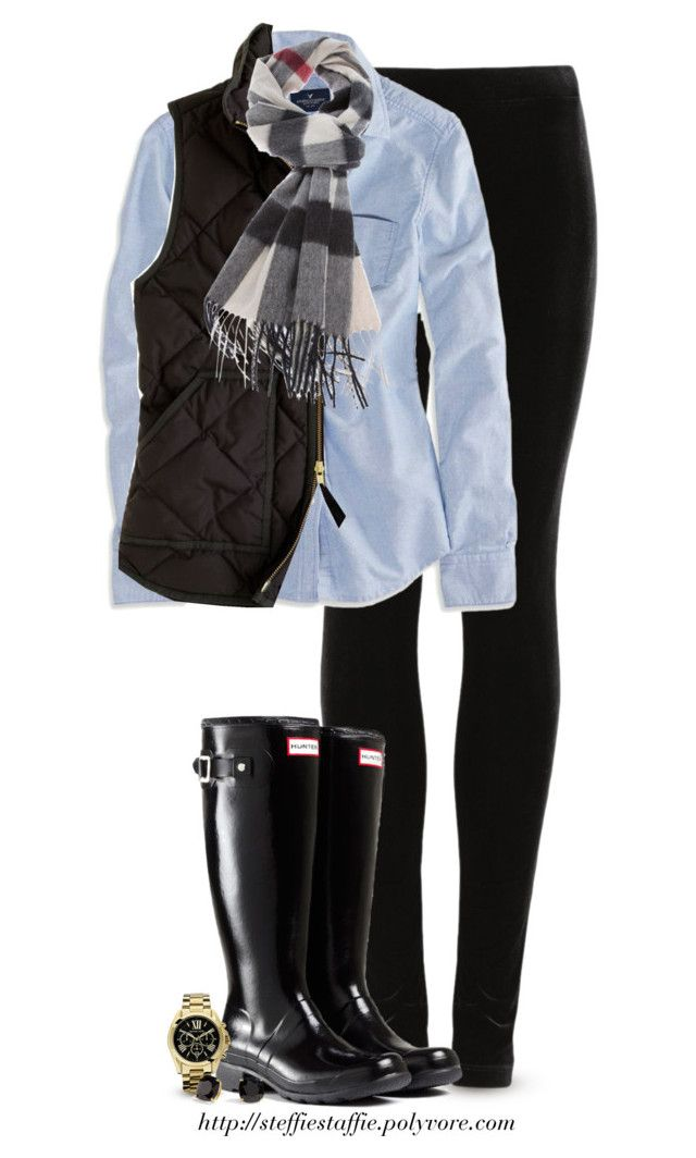 """J.Crew vest, Burberry scarf & Hunter boots"" by steffiestaffie ❤ liked on Polyvore featuring M&S, American Eagle Outfitters, J.Crew, Hunter, Michael Kors, Kate Spade and Burberry"