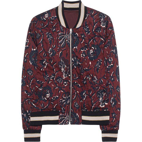 Isabel Marant Étoile Dabney Burgundy // Patterned bomber jacket ($475) ❤ liked on Polyvore featuring outerwear, jackets, sweatter, red bomber jacket, print bomber jacket, letter jacket, flight jacket and reversible bomber jacket