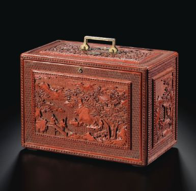 A CINNABAR LACQUER 'SCHOLAR LANDSCAPE' TABLE CABINET<br>QING DYNASTY, QIANLONG PERIOD | Lot | Sotheby's