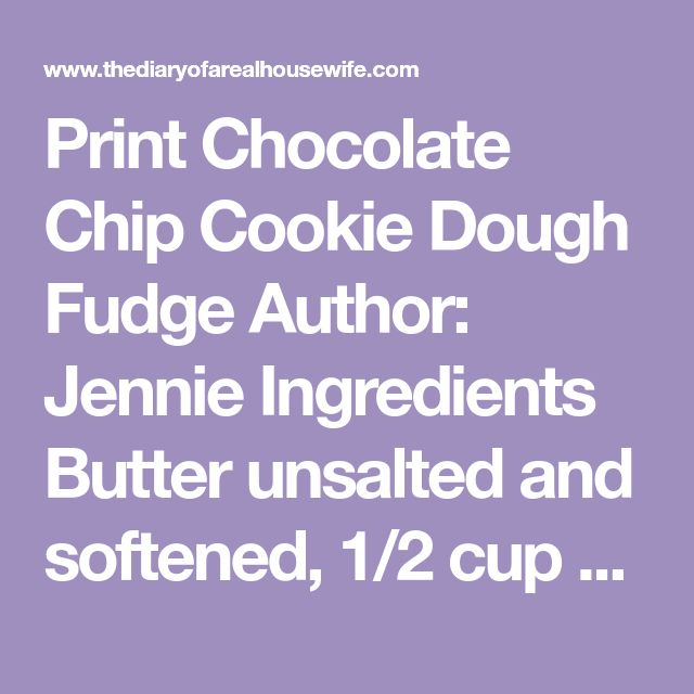 "Print Chocolate Chip Cookie Dough Fudge Author: Jennie Ingredients Butter unsalted and softened, 1/2 cup Brown sugar 3/4 cup Vanilla extract 1 tsp Sweetened condensed milk 14 oz All-purpose flour 1 cups Chocolate Chips 2 1/2 cups (divided) Peanut butter 1/2 cup Instructions Prepare a 8""x8"" pan with foil or parchment paper and set aside. …"