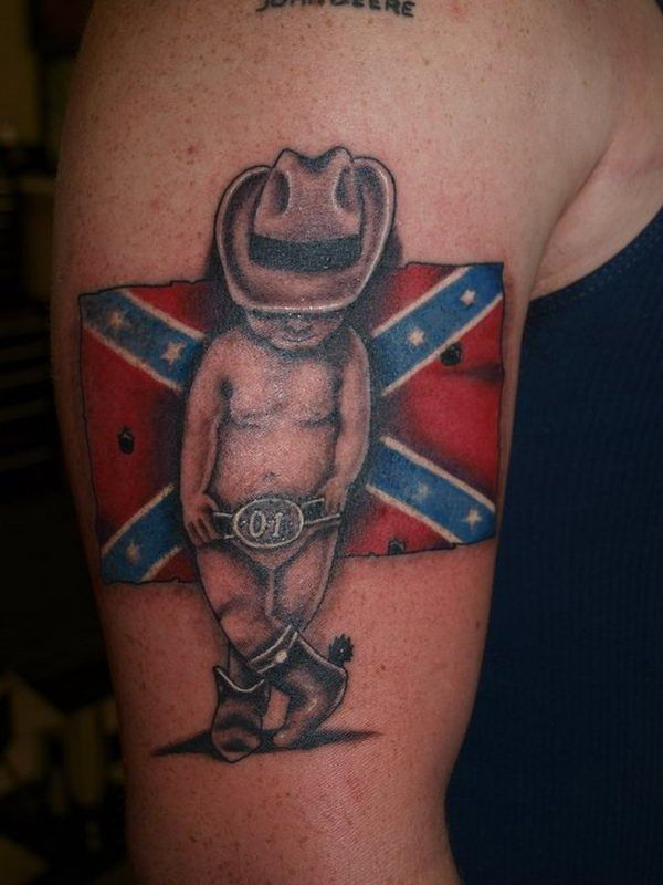 Baby Cowboy with Rebel Flag - Cool Rebel Flag Tattoos, http://hative.com/30-cool-rebel-flag-tattoos/,