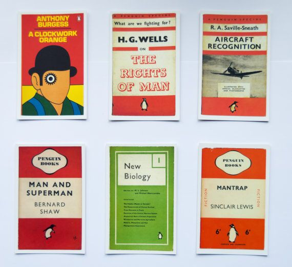 Penguin Book Cover Postcards  12 by sustainableartisan on Etsy