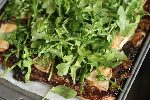 Savory Tart with Fig Butter, Caramelized Onions, Brie and Arugula ...