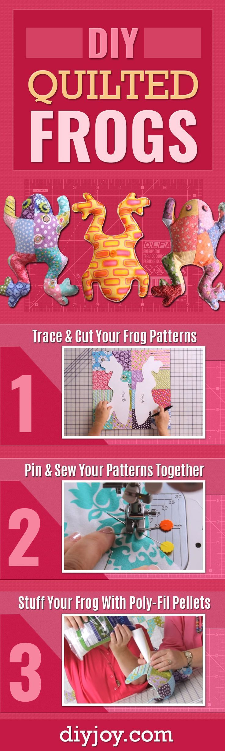 DIY Quilted Frogs - Cute Sewing Projects and Quilting Tutorials Make Creative DIY Gifts for Christmas Presents - Easy Sewing Patterns and Step by Step Tutorials - Home Decor and Crafts for Women