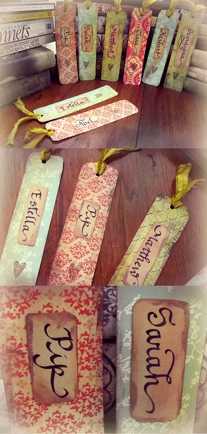 Bookmark place card - these would be cute for my Book Club.