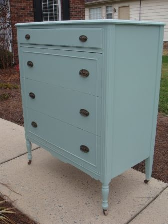 Shabby chic chest of drawers painted light aqua $225