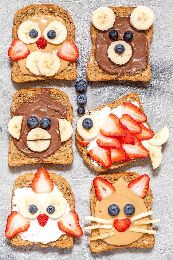 Verbringen Sie Zeit mit Ihren Kindern in der Küche und machen Sie einen lustigen Toast mit Tiergesichtern.