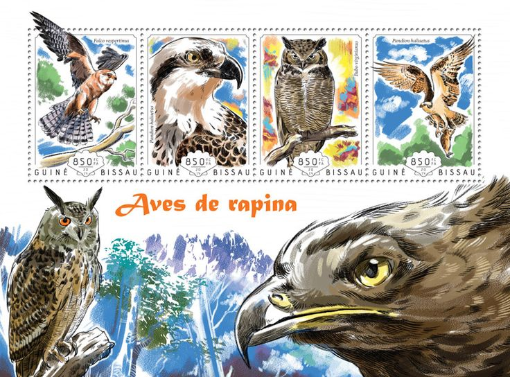 Post stamp Guinea-Bissau GB 14610 aBirds of prey (Falco vespertinus, {…}, Pandion haliaetus)