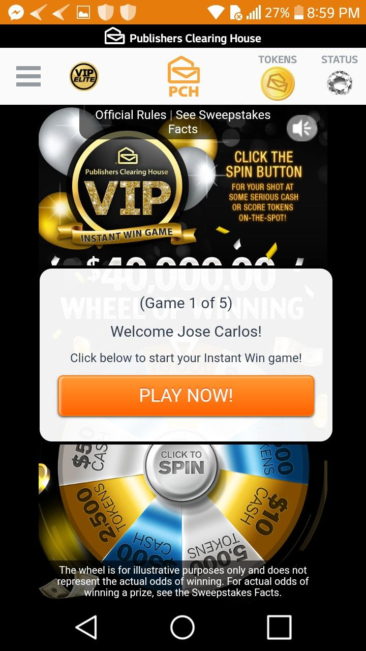 Pch i jose carlos gomez claim activation to pch vip elite $40,000 00