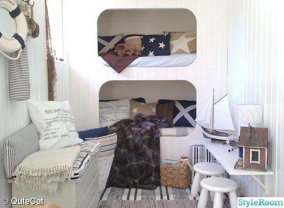 new england,vitt,kuddar,säng,panel,sovrum,våningssäng,barnrum
