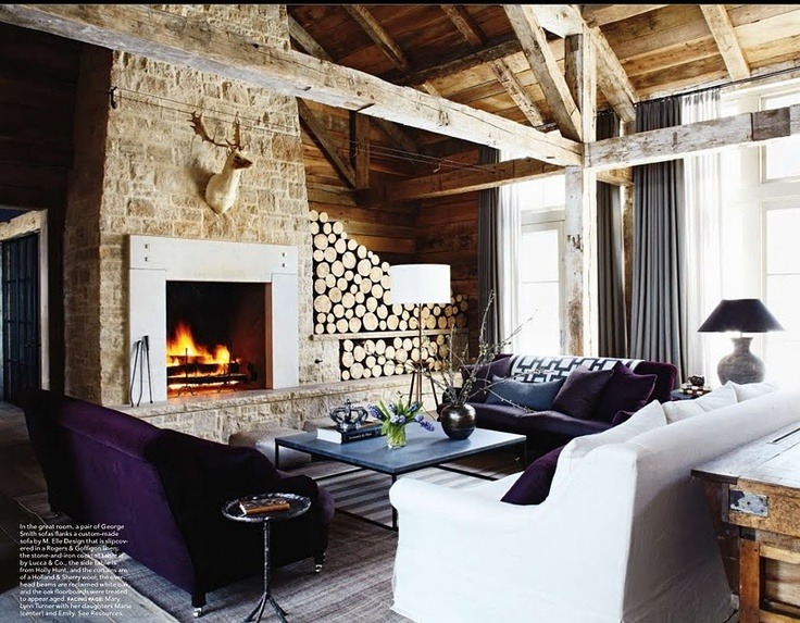 Love the contrasts and texture- always like M. Elle Design: Living Rooms, Idea, Elle Decor, Fireplaces, Cabins, Rustic Chic, Elledecor, Mountain Houses, Firewood Storage