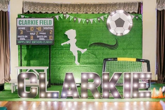 Clarkie S Soccer Themed Party Stage Football Theme Party Kids Party Themes Party Themes
