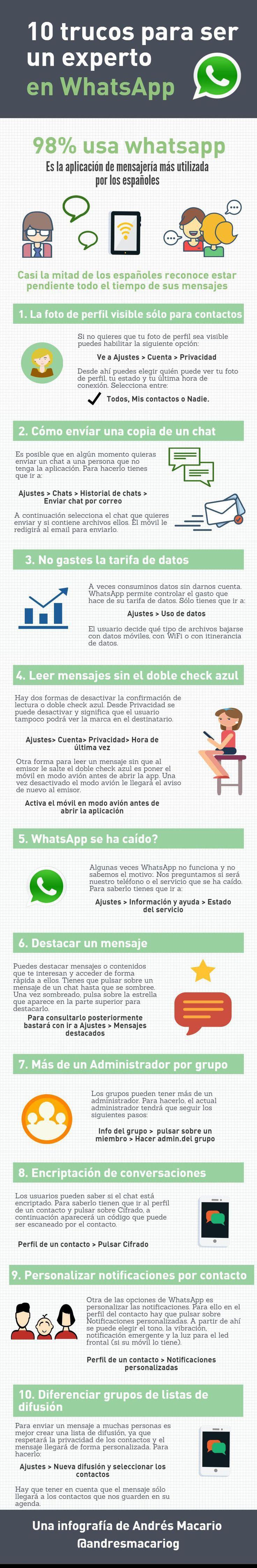 10 trucos para ser un experto en WhatsApp #infografia