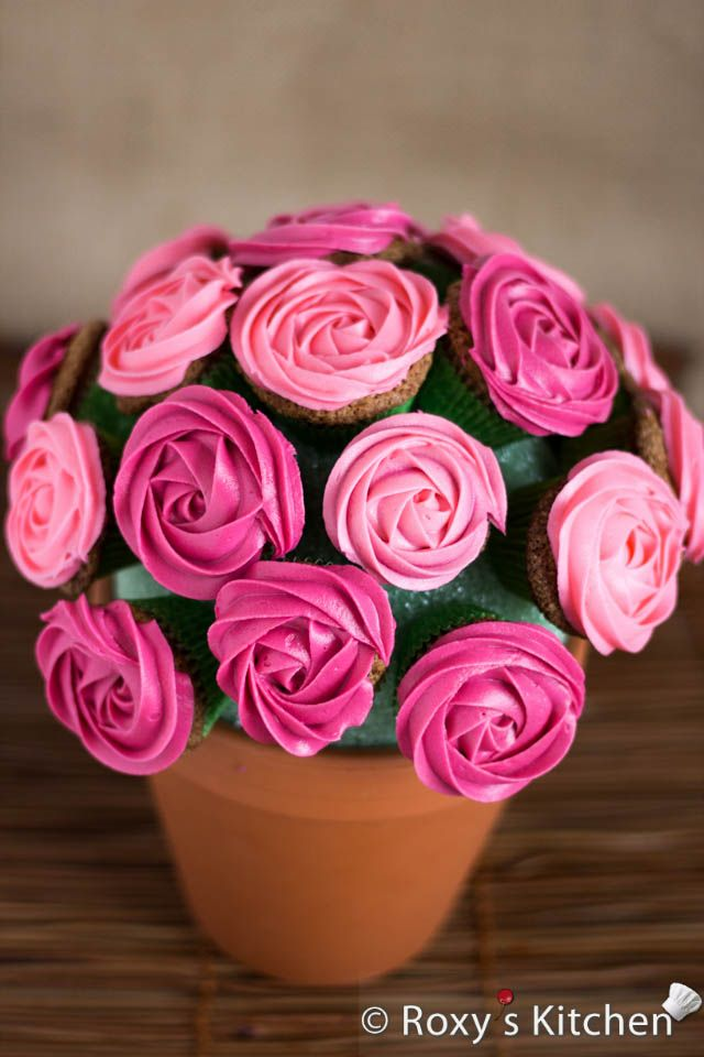 Rose Cupcake Bouquet in a Pot - Mother's Day, Valentine's Day, Wedding Centerpiece