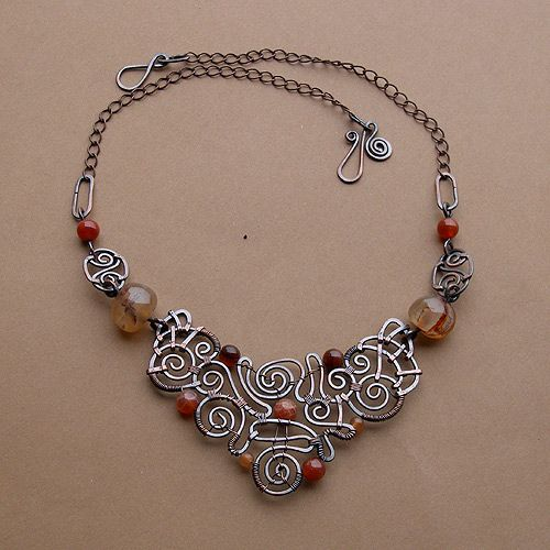I love this design!  Necklace | Jamajka Designs.  Oxidized copper, agates and bloodstones