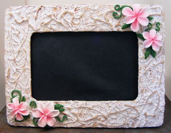 White & Cream Picture Frame with Pink Tropical by Gothbunny