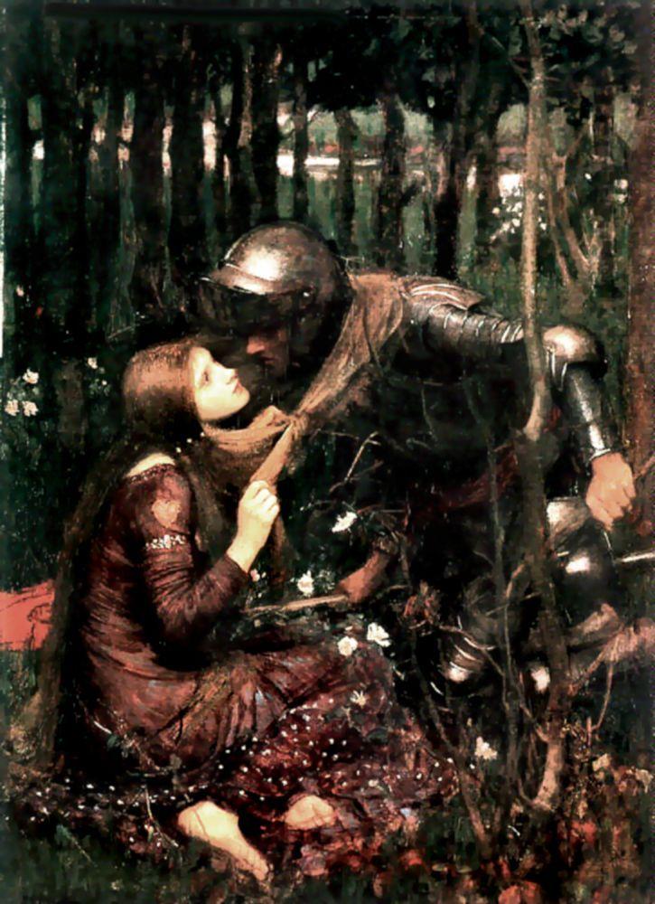 "La Belle Dame sans Merci (1893)  -John William Waterhouse  ""I met a lady in the meads, Full beautiful - a faery's child, Her hair was long, her foot was light, And her eyes were wild""  -John Keats (La Belle Dame sans Merci, 1819)"