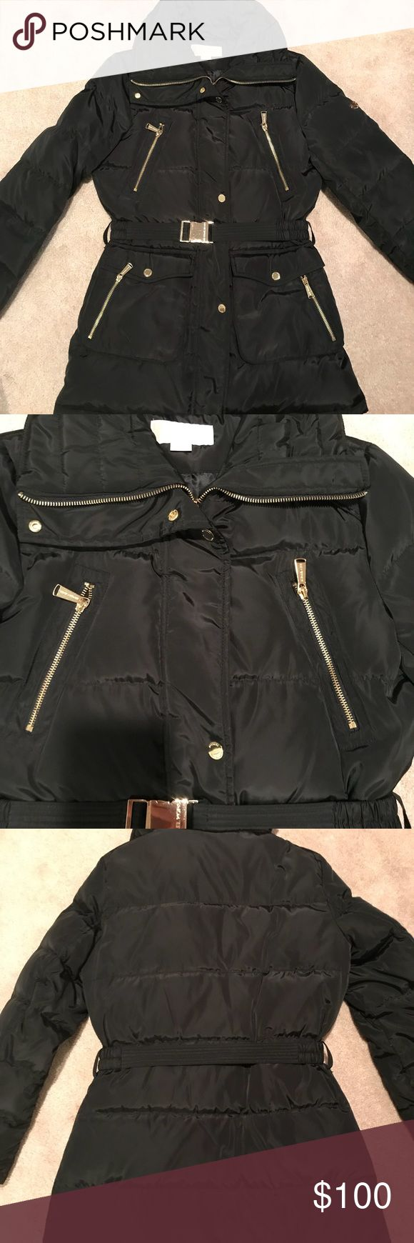 Michael Kors Puffer Coat Beautiful down filled winter coat in very good condition with pretty gold hardware. Comes with belt but no hood. Michael Kors Jackets & Coats Puffers