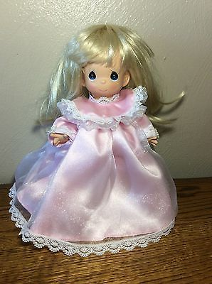"""Beautiful Precious Moments Doll Angel 9"""" Pink Gown Blonde Hair"""