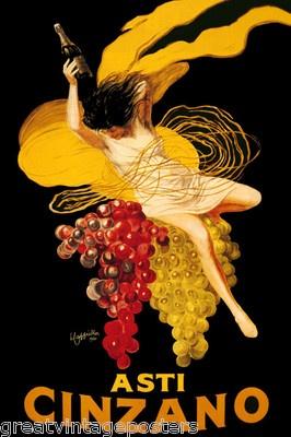 Asti Cinzano Wine Woman Grape Drink Alcohol Italy Cappiello Vintage Poster Repro | eBay
