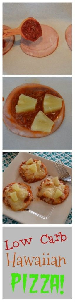 Low Carb Hawaiian Pizza. A Pizza built on a slice of low fat Canadian Bacon