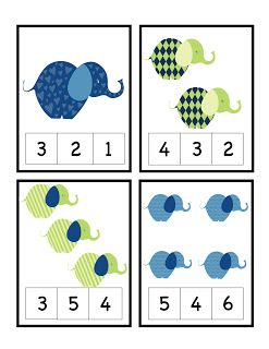 Preschool Printables: Elephant TRES NOMBREUX JEUX AUTOCORRECTIFS Anita Kisné Borsos Matematika kartyak OK OK OK