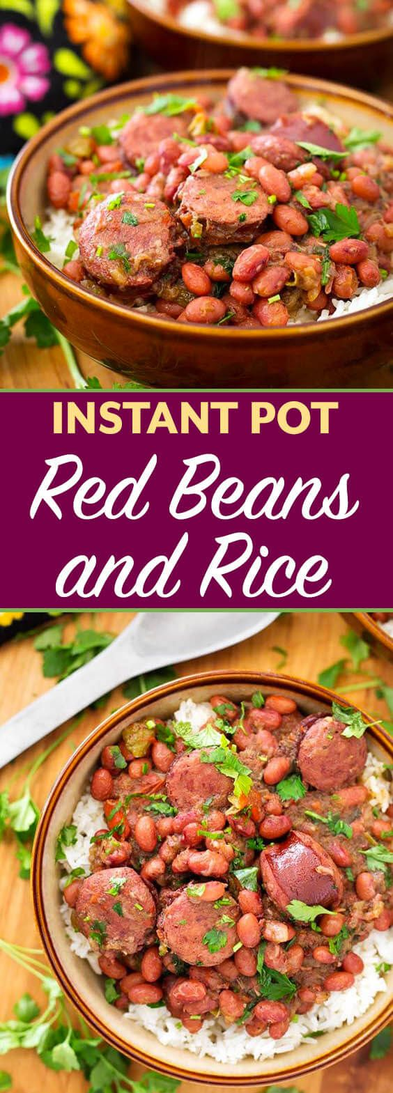 Instant Pot Red Beans and Rice With Sausage is a flavor packed, spicy New Orleans traditional meal. This pressure cooker Red Beans and Rice dish has lots of flavor, and you can make it from dry beans in just over an hour! simplyhappyfoodie.com #instantpotrecipes #instantpotredbeansandrice #pressurecookerrecipes #pressurecookerredbeansandrice
