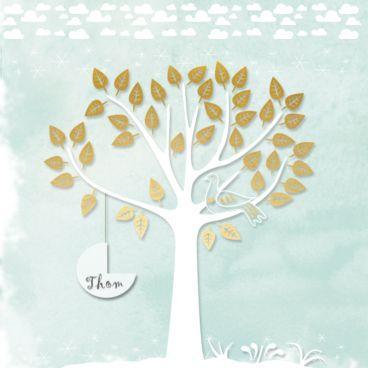 KaartMix Geboortekaartje goud, jongen, wolkjes, wiegje, boom, zelf ontwerpen