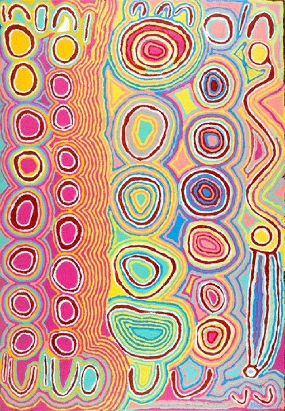 "Judy Napangardi Watson, ""Mini Mina Jukurrpa, (Women's Dreaming),"" 2004: The Kluge-Ruhe Collection presents ""Yuru-Yurula: Women's Paintings from Yuendumu,"" an exhibition of acrylic works by women from Yuendumu, an Aboriginal community in the Tanami Desert of Central Australia. Artists featured include Judy Napangardi Watson, Bessie Nakamarra Sims, Andrea Nungarrayi Martin, Betsy Napangardi Lewis, and others. 400 Worrell Dr. 244-0234."