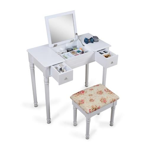 ViscoLogic Makeup Vanity Table Set with Stool - Flat Top White : Vanities - Best Buy Canada